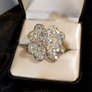 Fun adjustable rhinestone flower ring
